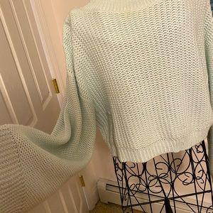 Mint Green Zara Puffy Sleeve Sweater